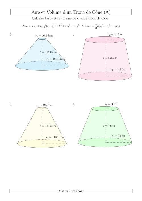 La Calcul de l'Aire et du Volume d'un Tronc de Cône (Nombres Entiers  Décimaux Mixtes) (A) Fiche d'Exercices sur les Mesures