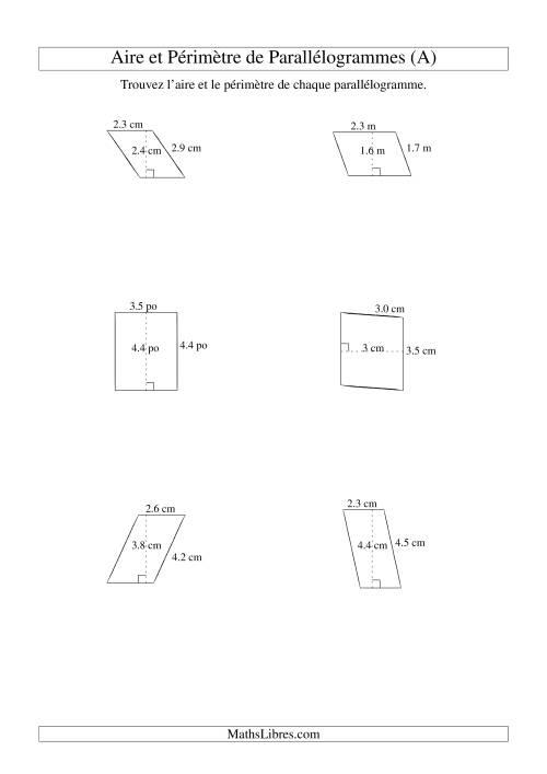La Aire et périmètre de parallélogrammes (jusqu'à 1 décimale; variation 1-5) (A) Fiche d'Exercices sur la Mesure