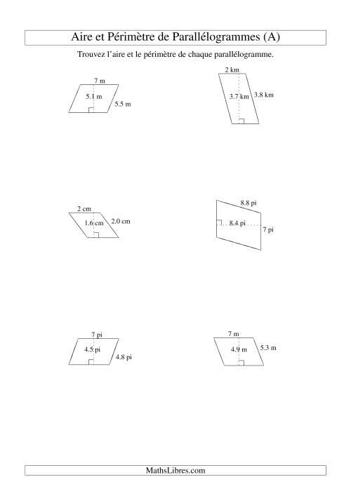 La Aire et périmètre de parallélogrammes (nombre entier; variation 1-9) (A) Fiche d'Exercices sur la Mesure