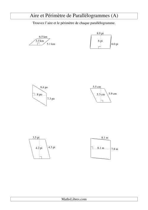 La Aire et périmètre de parallélogrammes (jusqu'à 1 décimale; variation 1-9) (A) Fiche d'Exercices sur la Mesure
