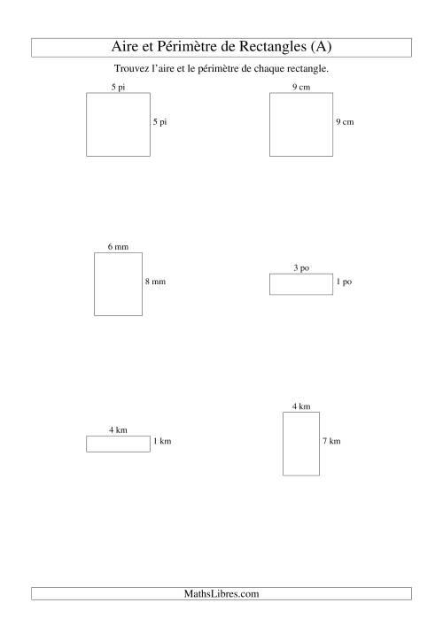 La Aire et périmètre de rectangles (nombre entier; variation 1-9) (A) Fiche d'Exercices sur la Mesure