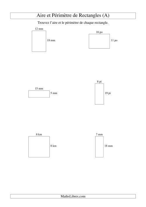 La Aire et périmètre de rectangles (nombre entier; variation 5-20) (A) Fiche d'Exercices sur la Mesure