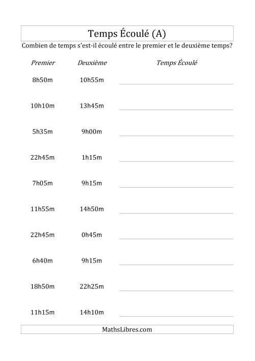 La Temps écoulé jusqu'à 5 heures, intervalles de 5 minutes (A) Fiche d'Exercices sur la Mesure
