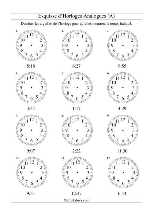 La Esquisse d'horloge analogue (intervalles 1 minute) (A) Fiche d'Exercices sur la Mesure