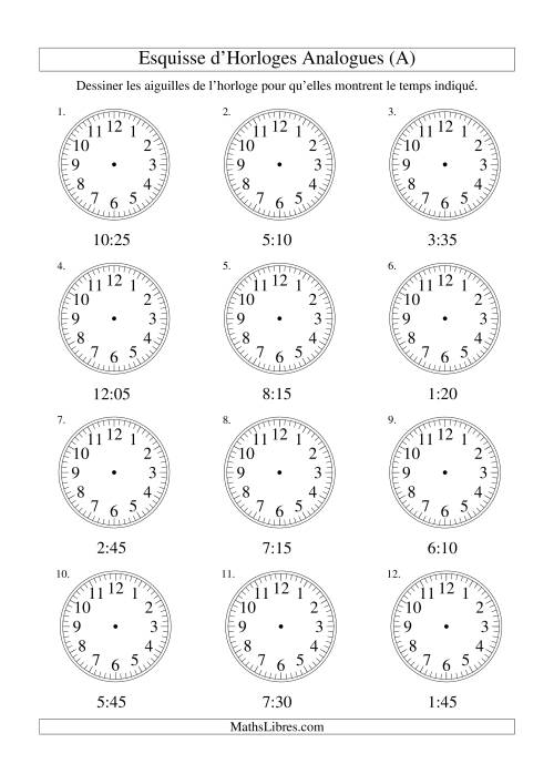 La Esquisse d'horloge analogue (intervalles 5 minutes) (A) Fiche d'Exercices sur la Mesure