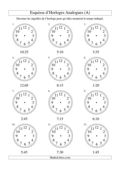 La Esquisse d'horloge analogue (intervalles 5 minutes) (A) Fiche d'Exercices sur la Mesure