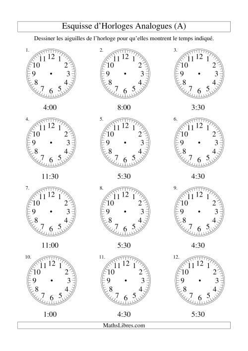 La Esquisse d'horloge analogue (intervalles 30 minutes) (A) Fiche d'Exercices sur la Mesure