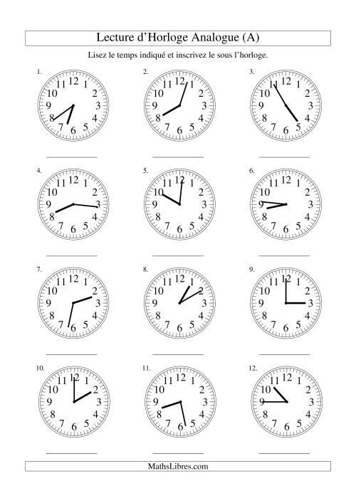 La Lecture d'horloge analogue (intervalles 1 minute) (A) Fiche d'Exercices sur la Mesure