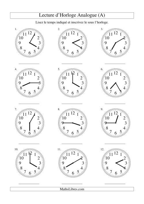 La Lecture d'horloge analogue (intervalles 5 minutes) (A) Fiche d'Exercices sur la Mesure