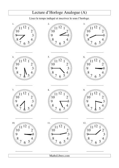 La Lecture d'horloge analogue (intervalles 15 minutes) (A) Fiche d'Exercices sur la Mesure