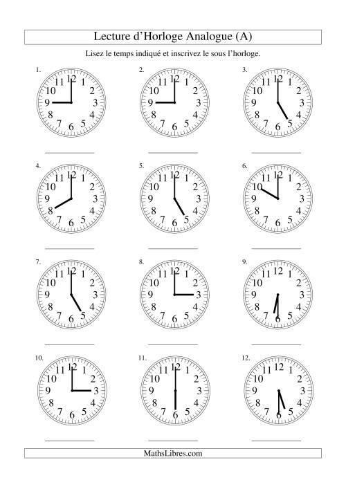 La Lecture d'horloge analogue (intervalles 30 minutes) (A) Fiche d'Exercices sur la Mesure