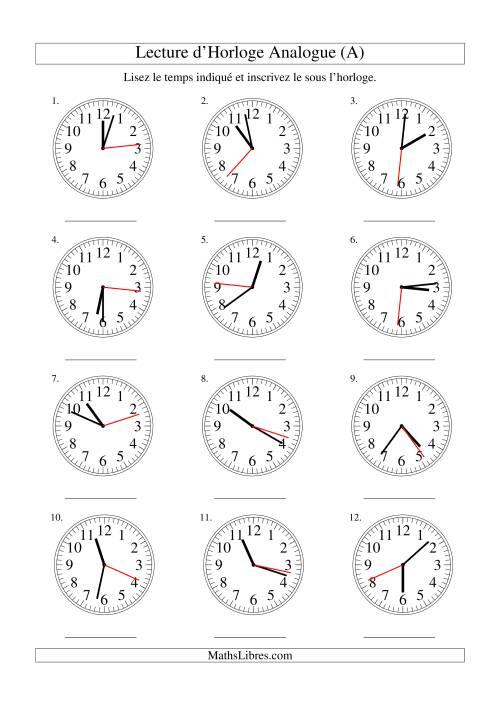La Lecture d'horloge analogue (intervalles 1 seconde) (A) Fiche d'Exercices sur la Mesure
