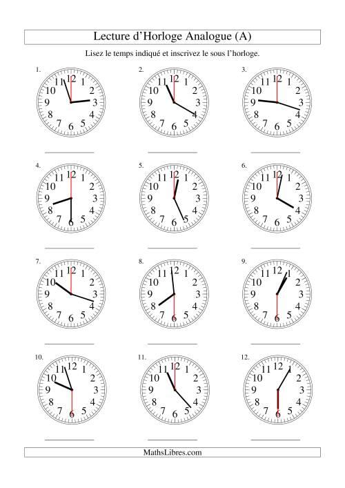 La Lecture d'horloge analogue (intervalles 30 secondes) (A) Fiche d'Exercices sur la Mesure