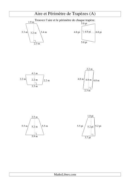 La Aire et périmètre de trapèzes (jusqu'à 1 décimale; variation 1-9) (A) Fiche d'Exercices sur la Mesure