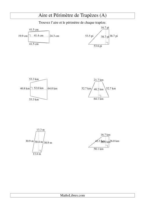 La Aire et périmètre de trapèzes (jusqu'à 1 décimale; variation 10-99) (A) Fiche d'Exercices sur la Mesure