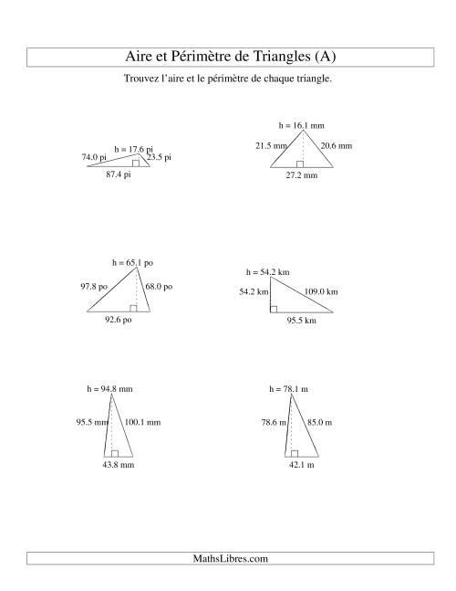 La Aire et périmètre de triangles (jusqu'à 1 décimale; variation 10-99) (A) Fiche d'Exercices sur la Mesure