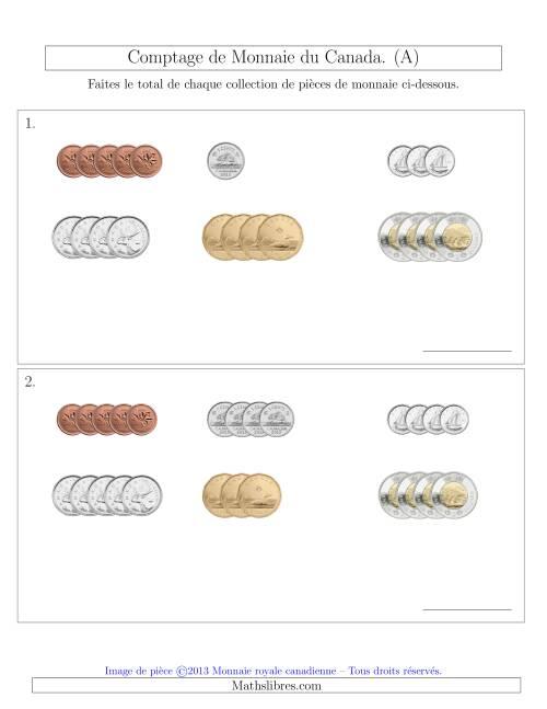 La Comptage de Monnaie du Canada - Petites Collections ($) (A) Fiche d'Exercices sur la Monnaie