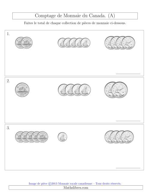 La Comptage de Monnaie du Canada - Sans pièces de 1 Cent, 1 et 2 dollars - Petites Collections ($) (A) Fiche d'Exercices sur la Monnaie