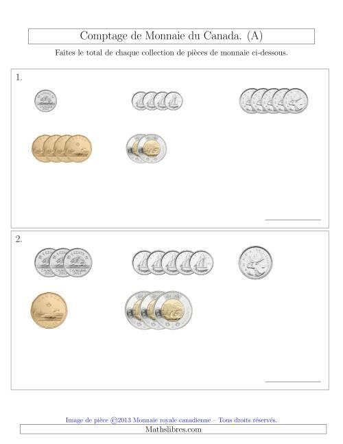 La Comptage de Monnaie du Canada - Sans pièces de 1 Cent - Petites Collections ($) (A) Fiche d'Exercices sur la Monnaie