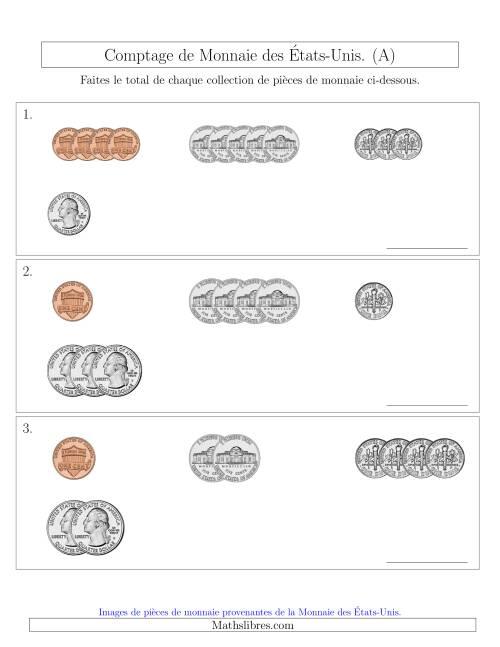 La Comptage de Monnaie des  États-Unis - Petites Collections ($) (A) Fiche d'Exercices sur la Monnaie