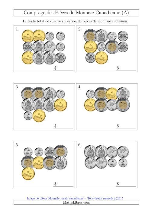 La Comptage des Pièces de Monnaie Incluant 50 Cents (A) Fiche d'Exercices sur la Monnaie
