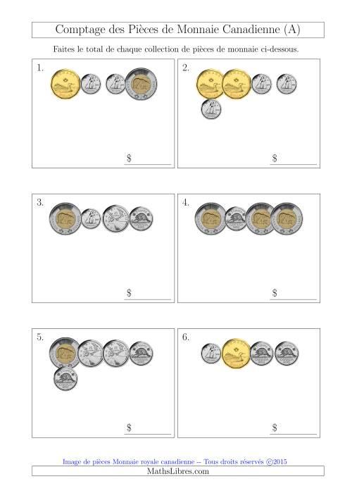 La Comptage des Pièces de Monnaie Canadienne (Petites Collections) (A) Fiche d'Exercices sur la Monnaie