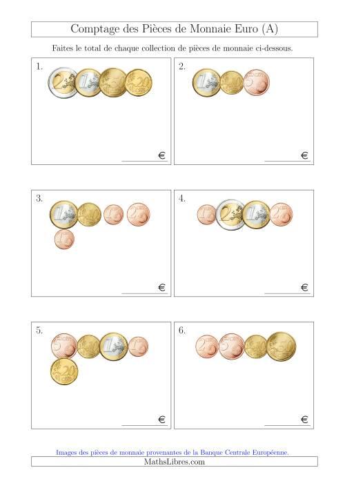 La Comptage des Pièces de Monnaie Euro (Petites Collections) (A) Fiche d'Exercices sur la Monnaie