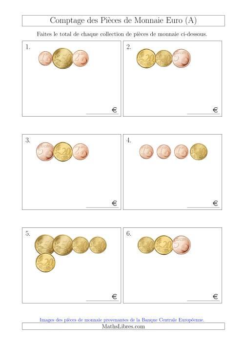 La Comptage des Pièces de Monnaie Euro Sans les Pièces de 1 et 2 Euros (Petites Collections) (A) Fiche d'Exercices sur la Monnaie