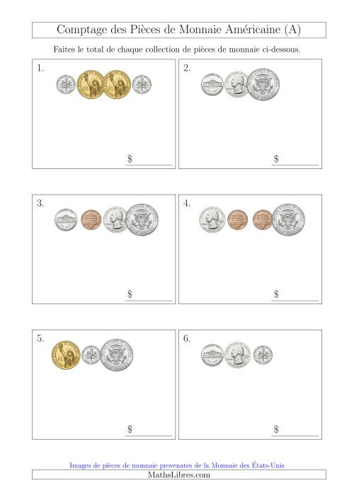 La Comptage des Pièces de Monnaie Amécaine Incluant 1/2  1 Dollar (Petites Collections) (A) Fiche d'Exercices sur la Monnaie