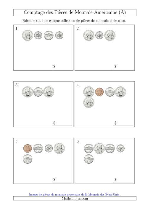 La Comptage des Pièces de Monnaie Amécaine (Petites Collections) (A) Fiche d'Exercices sur la Monnaie
