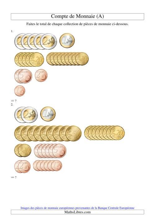 La Compte de sous euros (A) Fiche d'Exercices sur la Monnaie