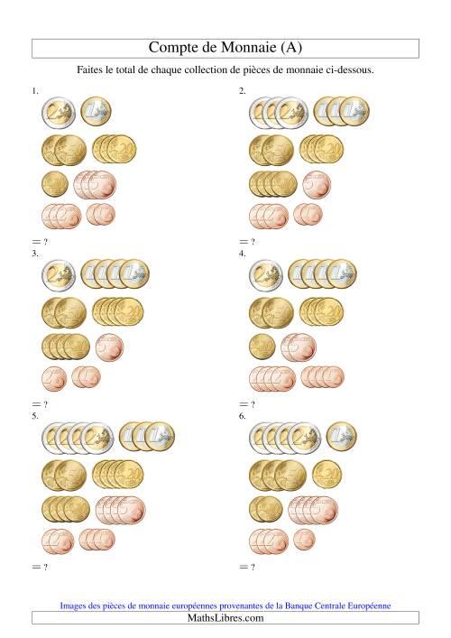 La Compte de petites collections de sous euros (A) Fiche d'Exercices sur la Monnaie