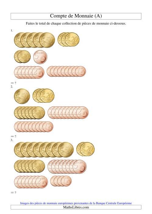 La Compte de sous euros sans 1€ ni 2€ (A) Fiche d'Exercices sur la Monnaie