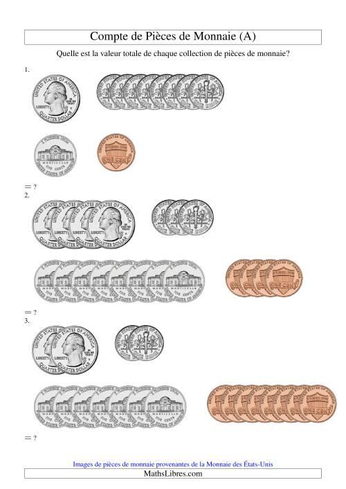 La Compte de sous US (A) Fiche d'Exercices sur la Monnaie