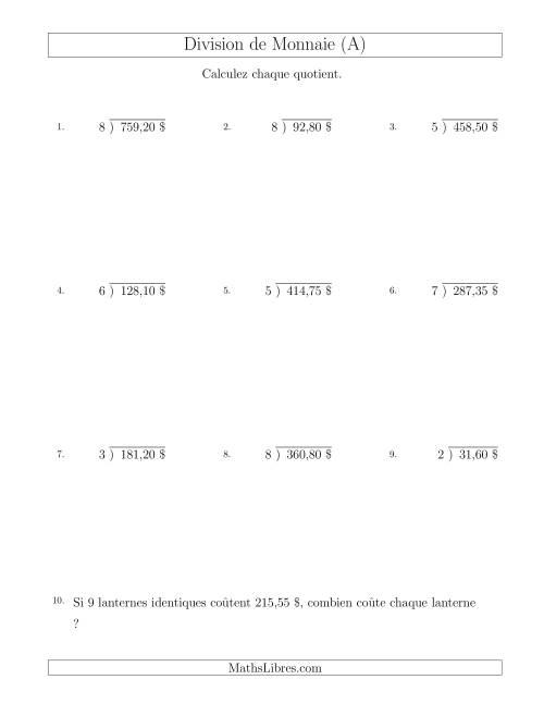 La Division de Montants par Tranches de 5 Sous par un Diviseur à Un Chiffre ($) (A) Fiche d'Exercices sur la Monnaie