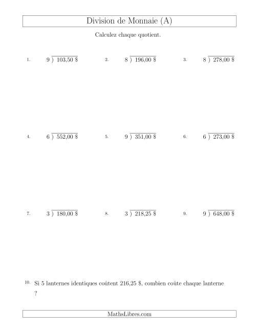 La Division de Montants par Tranches de 25 Sous par un Diviseur à Un Chiffre ($) (A) Fiche d'Exercices sur la Monnaie