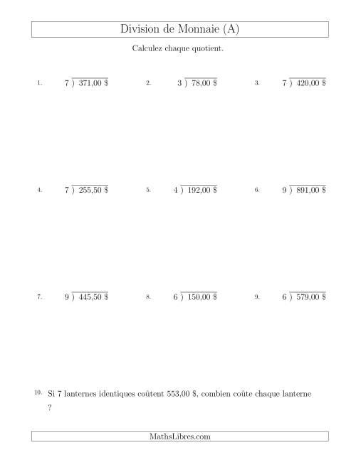 La Division de Montants par Tranches de 50 Sous par un Diviseur à Un Chiffre ($) (A) Fiche d'Exercices sur la Monnaie