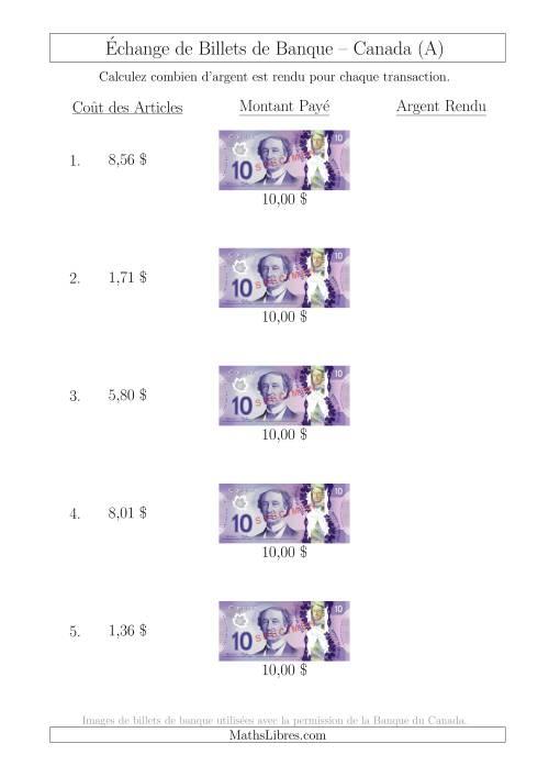 La Échange de Billets de Banque Canadiens de 10 $ (A) Fiche d'Exerccices sur la Monnaie