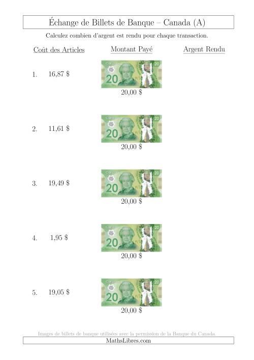 La Échange de Billets de Banque Canadiens de 20 $ (A) Fiche d'Exerccices sur la Monnaie