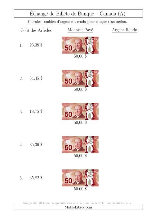 La Échange de Billets de Banque Canadiens de 50 $ (A) Fiche d'Exerccices sur la Monnaie