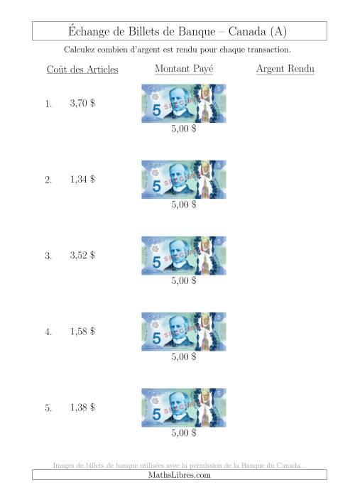 La Échange de Billets de Banque Canadiens de 5 $ (A) Fiche d'Exerccices sur la Monnaie