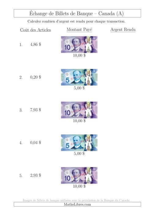La Échange de Billets de Banque Canadiens Jusqu'à 10 $ (A) Fiche d'Exerccices sur la Monnaie