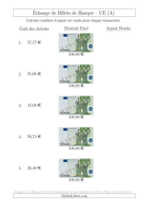 La Échange de Billets de Banque UE de 100 € (A) Fiche d'Exerccices sur la Monnaie