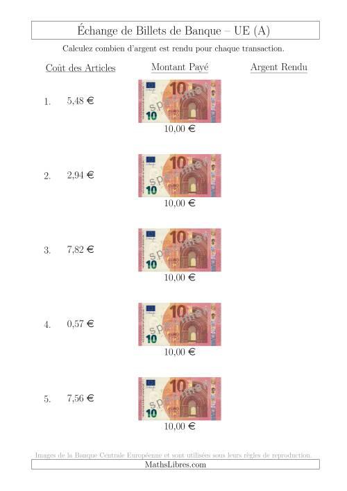 La Échange de Billets de Banque UE de 10 € (A) Fiche d'Exerccices sur la Monnaie