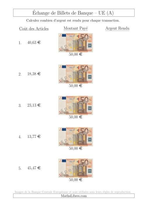 La Échange de Billets de Banque UE de 50 € (A) Fiche d'Exerccices sur la Monnaie