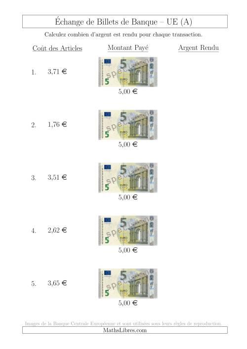 La Échange de Billets de Banque UE de 5 € (A) Fiche d'Exerccices sur la Monnaie