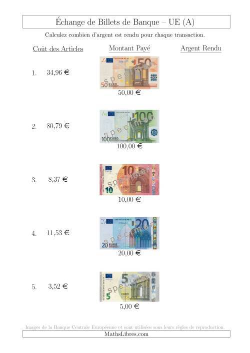 La Échange de Billets de Banque UE Jusqu'à 100 € (A) Fiche d'Exerccices sur la Monnaie
