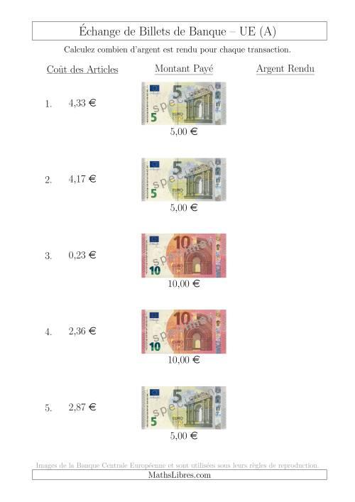 La Échange de Billets de Banque UE Jusqu'à 10 € (A) Fiche d'Exerccices sur la Monnaie