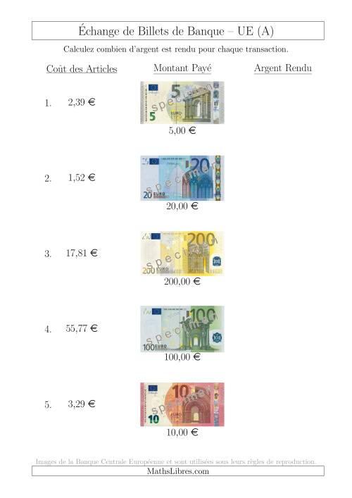 La Échange de Billets de Banque UE Jusqu'à 200 € (A) Fiche d'Exerccices sur la Monnaie