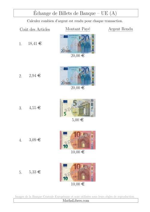 La Échange de Billets de Banque UE Jusqu'à 20 € (A) Fiche d'Exerccices sur la Monnaie